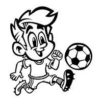 Karikatur-Jungen-Kind, das Fußball oder Fußball in einem grünen T-Shirt und in den Bügelschuhen spielt vektor