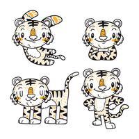 niedlicher kleiner Tiger-Cartoon-Gekritzelvektor vektor