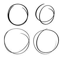Handritad cirkellinjes skissuppsättning. Vektor cirkulär skribbel doodle runt cirklar för meddelande notering markera designelement. Penna eller penna graffiti bubbla eller boll utkast illustration
