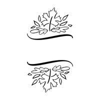 Höst vektor illustration lämnar gränsen ram med utrymme text bakgrund. Black brush doodle skiss med kalebasser för Thanksgiving dag semester