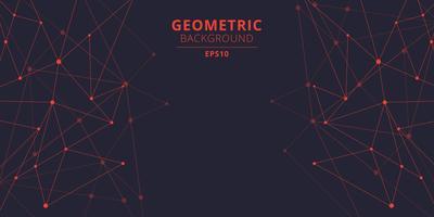 Tekniska abstrakta trianglar formar röd färg med anslutande prickar och linjer med kopieringsutrymme. Stor datavisualisering. Anslutningsstruktur.