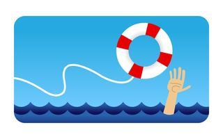 Bemannen Sie das Festhalten an Schwimmweste-Karikaturvektorillustration