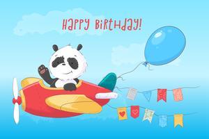 Niedlicher Panda des Postkartenplakats im Flugzeug in der Cartoonart. Handzeichnung.