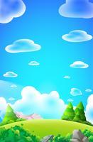 Karikaturwaldhügelporträtvektor-Naturhintergrund