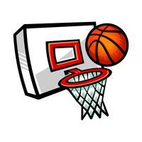 Karikaturvektorbasketball und -netz