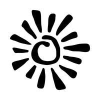 Stilisierter Sun in Inky Painted Tribal Style-Vektorikone