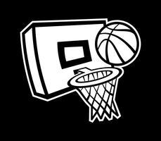 Karikaturvektorbasketball und -netz vektor