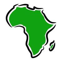 Detaljerad karta över Afrika kontinent i svart silhuett vektor