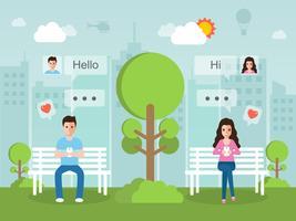 Man och kvinna chattar online på sociala nätverk med smartphone.