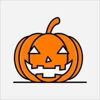 Flache Linie Kunststil. Kürbisikonendesign für Halloween.