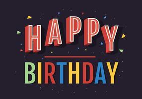 Grattis på födelsedagstypografi i färgglada brev