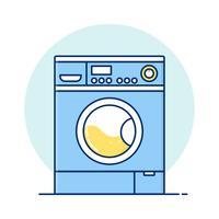 Fin linje konst Tvättmaskin för webbikoner