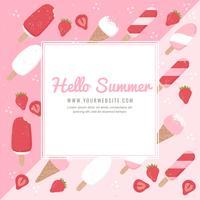 Vektor-Sommer-Eiscreme-Hintergrund