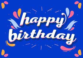 Grattis på födelsedagstypografi på blå bakgrund