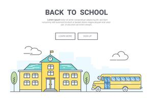 Landschaft zurück zu Schulkonzept. Design für Bildungsthema Landing Page Website. Deine Linie Kunst.