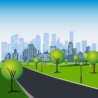 Grüner Park in der städtischen Stadt. Geschäftszentrum mit Wolkenkratzern und großen Gebäuden. vektor