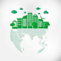 Spara Earth Planet World Concept. Världsmiljödagskonceptet. grön modern stadsstad på grön punktklot, säkra världen, ekologi koncept vektor