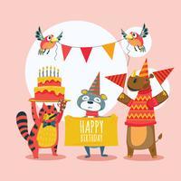 Vektor uppsättning av söta djur firar födelsedag med massor av gåvor och kakor