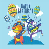 Lustiger Löwe und Affe mit Flöte und Electone singt Ihnen Lied-alles Gute zum Geburtstag vektor