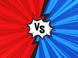 Komischer kämpfender Karikatur-Hintergrund. Rot gegen Blau. Vektor-Illustration.