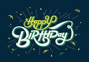 Grattis på födelsedagen typografi i gula och vita bokstäver