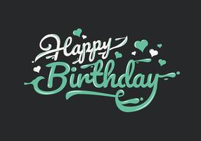 Grattis på födelsedagstypografi i vita och gröna bokstäver
