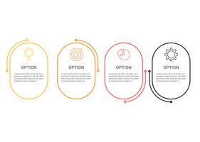 Infographics diagram med 4 steg, alternativ eller processer. Vektor affärsmall för presentation. affärsdata visualisering.