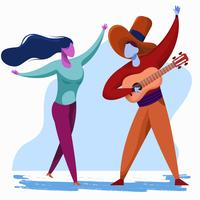 Mann, der Gitarren-und Mädchen-Tanzen-Vektor-Illustration spielt