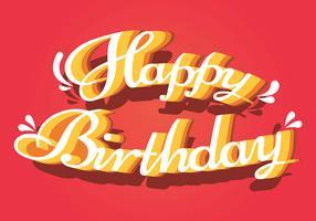 Grattis på födelsedagstypografi i vita bokstäver