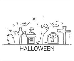 Flache Linie Kunststil. Design für Halloween. Website und Banner.