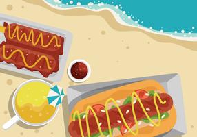Sommer-Lebensmittel an der Strand-Vektor-Illustration vektor