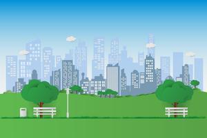 Naturen i en vacker stadspark. Stadsbänk med grön träd och stadsbyggnader bakgrund. träna och koppla av vektor