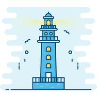 Strichzeichnung Stil. Leuchtturm Vektor.