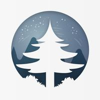 Kiefer auf Wald am Winter. Frohe Weihnachten und ein glückliches Neues Jahr. Papierkunst und Handwerksstil.