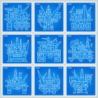 Ölplattformen Blaupause