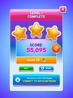 Spiel-UI. Level-Abschlussbildschirm.