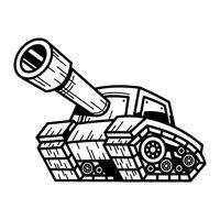 Karikatur-Armee-Behälter-Maschine mit der großen Kanone bereit, Vektorillustration abzufeuern vektor