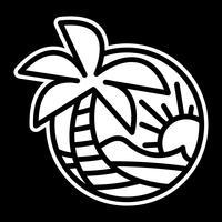 Summer Beach Waves Ocean Palm Tree Tropisk Semester Semester vektor ikon