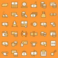Affärssymboler och ekonomisymboler. vektor
