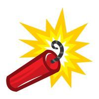 Tecknadstake av explosiv Dynamite TNT med tändsäkring vektor