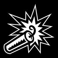 Karikatur-Stock des explosiven Dynamits TNT mit brennender Sicherung