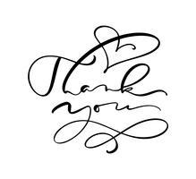 Kalligrafi bokstäver Vektor text Tack. Isolerad på vit bakgrund. Handritad vintageillustration för bröllop, hälsningskort, tagg