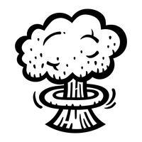 Atombombenexplosion-Fallout-Vektorikone der Pilz-Wolken vektor