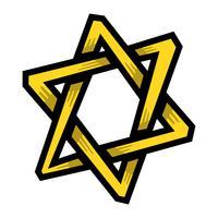 Jüdischer Davidstern Sechszackiger Stern in Schwarz mit ineinandergreifender Artvektorikone