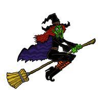 Hexe, die einen Besenkarikaturvektor reitet