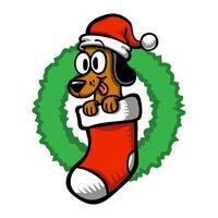 Cartoon Dog Santa Hat Christmas Strumpor vektor