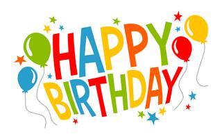 Bunte alles- Gute zum Geburtstagtext-Grafik mit Partei steigt Vektorlogo im Ballon auf vektor
