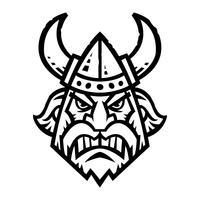 Vektor illustration av en tecknad viking med en horned hjälm och skägg