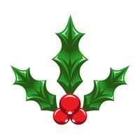 Weihnachtsfeiertags-Mistelzweig mit roten Beeren und grünen Blättern vektor