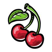 Tecknad körsbärsfrukt på grön stjärna med blad